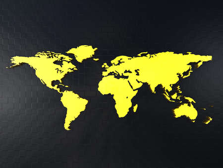 the americas: Gold world map on a black background Stock Photo