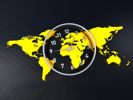 Time clock in the middle of a world map Stock Photo