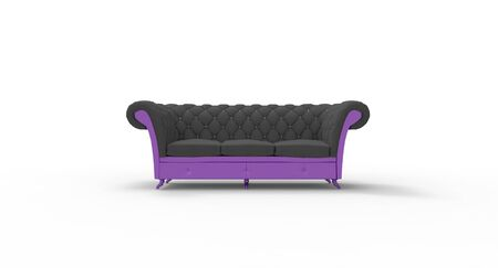 seating: Sofa upholstered - seating for three Stock Photo