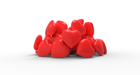 Pile of charming red hearts
