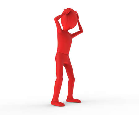 Standing and thinking with hands on head