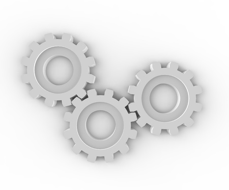 Trio of gears working together to achieve goal Stock Photo - 17433135