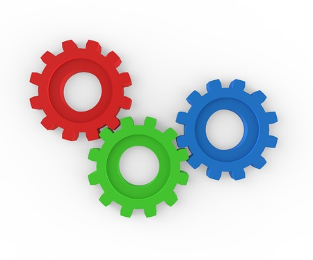 Trio of gears working together to achieve goal Stock Photo