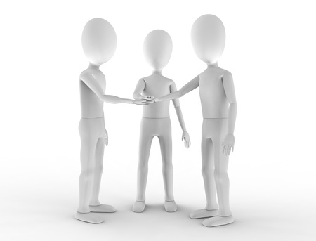 Three teammates stack hands in agreement Stock Photo - 17433133