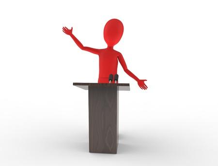hablar en publico: Potente habla pública en un podio Foto de archivo