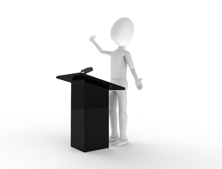 Powerful public speaking at a podium