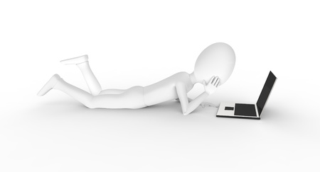 Man stretching out to work on computer Stock Photo - 17572731