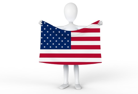 Man holding up the flag of the United States