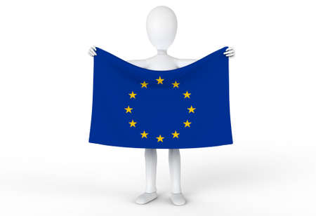 Person holding up the flag of the European Union Stock Photo