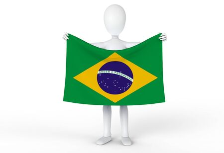 Person holding up the flag of Brazil  Brasil