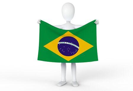 Person holding up the flag of Brazil  Brasil