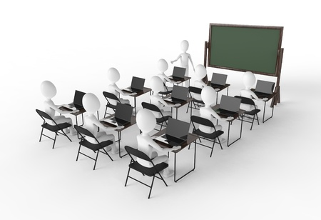 Classroom of students with teacher at the front Stock Photo