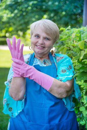 graying: Senior pensioner woman wearing blue apron with gloves