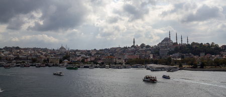 Istanbul Golden Horn, Eminonu, Galata Bridge. Panoramic view