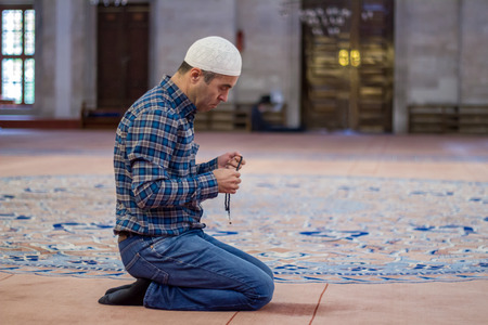 Young adult caucasian man at the mosque