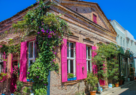 A stone building on Cunda (Alibey) Island. Ayvalik, Turkey