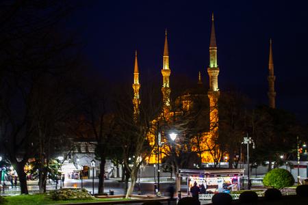 Sultanahmet Mosque at night, Istanbul, Turkey Stock Photo