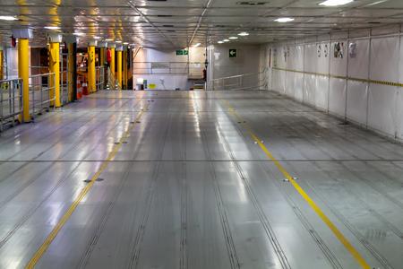 Passenger car ferry car deck is empty