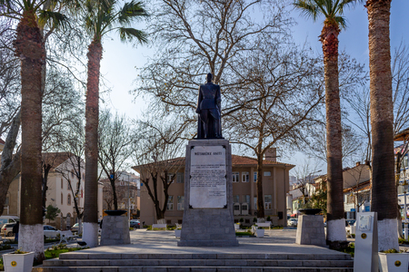 Mudanya, Bursa  Turkey - January 28 2019: Mutareke monument and Ataturk statue