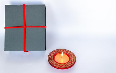 Gray gift box on white background