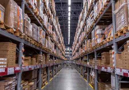 Logistics storage warehouse interior view