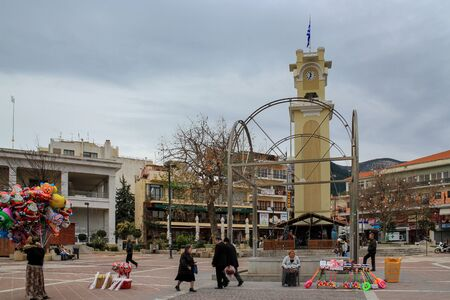 XANTHI  GREECE - JANUARY 05 2013: Central square and clock tower at Xanthi