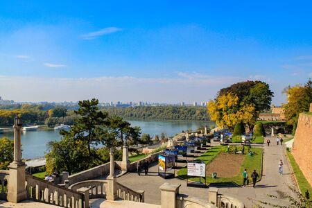Belgrade  Serbia - October 15 2013: Danube and Sava river view from Kalemegdan Castle. Belgrade