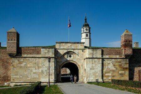 Belgrade  Serbia - October 15 2013: Stambol Gate Castle and clock tower in Kalemegdan Park. Belgrade