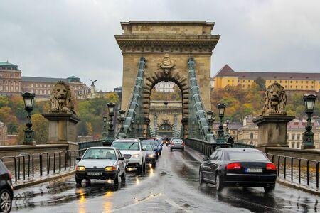 Budapest  Hungary - October 16 2013: Szechenyi Chain Bridge on a rainy day. Editöryel
