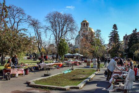 Sofia  Bulgaria - October 18 2013: Sunny day outdoor local antique goods market in Sofia Editöryel