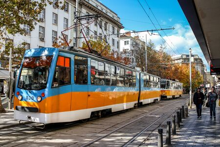 Sofia  Bulgaria - October 18 2013: A street in the city center of Sofia and tram. Daily life in Sofia