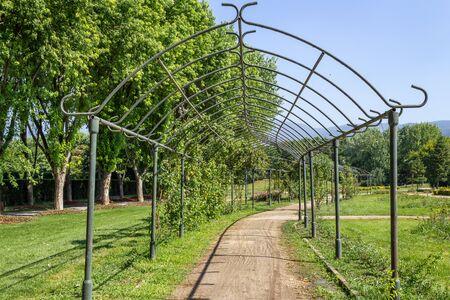 Iron trellis arch gate walking path 免版税图像