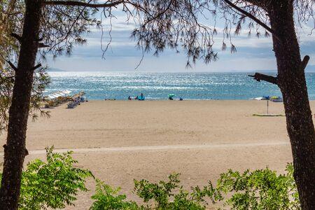 Panoramic view of Oren Beach. Burhaniye district popular touristic destination a summer day. Summer beach landscape. Balikesir Turkey