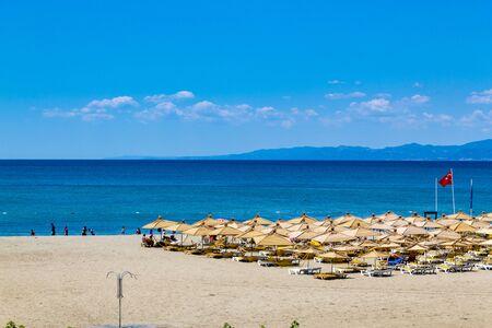 Oren, Burhaniye, Balikesir  Turkey - July 12 2019: Panoramic view of popular touristic Oren Beach in Burhaniye district a summer day Editöryel