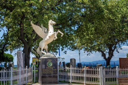 Oren, Burhaniye, Balikesir  Turkey - July 12 2019: Burhaniye district popular touristic destination Oren district center walking path