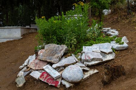 Camlibel Village, Edremit, Balikesir  Turkey - July 14 2019: Actor Tuncel Kurtizs grave Editöryel