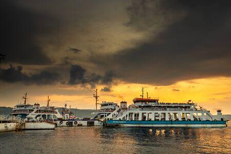 Canakkale  Turkey - July 14 2019: Canakkale - Eceabat car ferry port at sunset