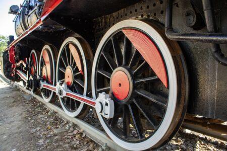 Old steam black train locomotive