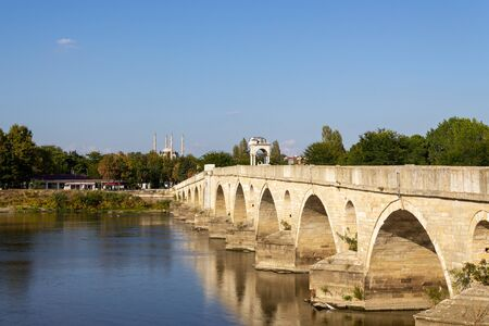 Historical old Meric Bridge on Meric River. Edirne, Turkey