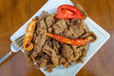 Turkish local food; Liver frying pan