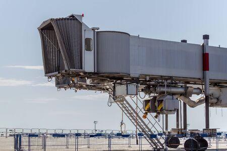 Aircraft passenger boarding bridge. Airplane bellows Stok Fotoğraf