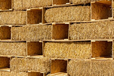 Hay bales isolated background wall Stok Fotoğraf