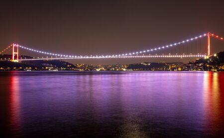 Istanbul Bosphorus Bridge landscape at night