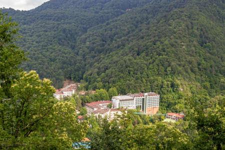 Oylat, Bursa / Turkey - June 26 2020: Oylat hot springs and thermal baths town