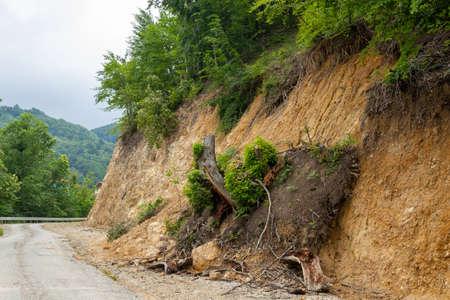 Landslide on the forest road