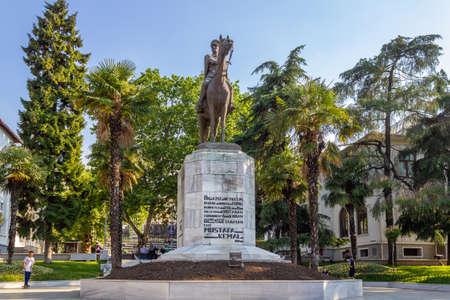 Bursa / Turkey - June 24 2020: Bursa city center, Statue Square and Ataturk Statue