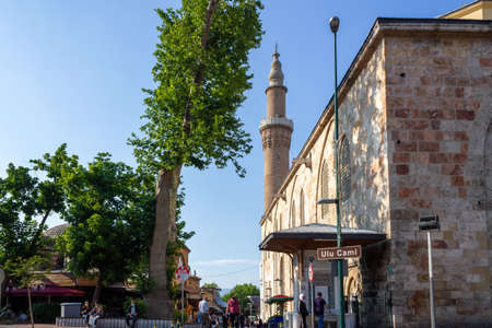 Bursa / Turkey - June 24 2020: Ulu Cami Mosque view. Bursa, Turkey