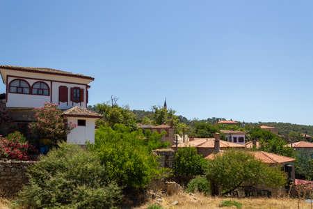 Adatepe, Ayvacik, Canakkale / Turkey - July 18 2020: The old Adatepe Village in the Kaz (Ida) Mountains