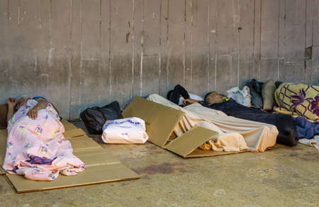 Fatih, Istanbul / Turkey - September 18 2020: Homeless people sleeping in the underpass 新聞圖片