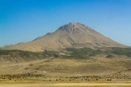 Hasan Dagi Mountain sunny summer day view. Aksaray, Turkey 版權商用圖片